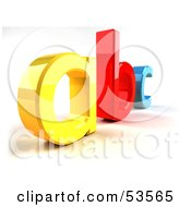Royalty Free RF Clipart Illustration Of A Yellow A Red B And Blue C In 3d Angle 3