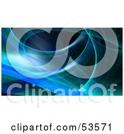 Royalty Free RF Clipart Illustration Of A Blue Fractal Swoosh Background On Black Version 1