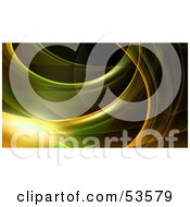 Royalty Free RF Clipart Illustration Of A Green And Yellow Fractal Swoosh Background On Black