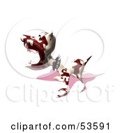 Royalty Free RF Clipart Illustration Of A Mean 3d Dog Wearing A Spiked Collar Version 10 by Julos