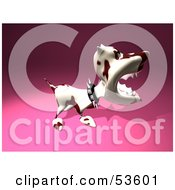 Royalty Free RF Clipart Illustration Of A Mean 3d Dog Wearing A Spiked Collar Version 4