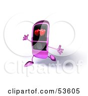 Royalty Free RF Clipart Illustration Of A Happy Pink Cell Phone With Hearts On The Screen Running With Its Arms Open