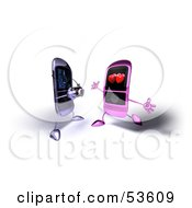 Royalty Free RF Clipart Illustration Of A 3d Cell Phone Taking A Picture Of An Amorous Phone