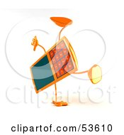 Royalty Free RF Clipart Illustration Of A 3d Slim Orange Cell Phone Character Doing A Cartwheel Version 2