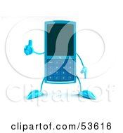 Royalty Free RF Clipart Illustration Of A 3d Slim Blue Cell Phone Character Giving The Thumbs Up