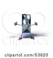 Royalty Free RF Clipart Illustration Of A Slim 3d Cellular Phone Holding Its Arms Out Version 7