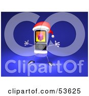 Royalty Free RF Clipart Illustration Of A 3d Cell Phone Holding Its Arms Out And Wearinga Santa Hat