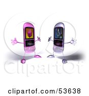Royalty Free RF Clipart Illustration Of Two Rounded Cell Phones Holding Their Arms Open To Embrace