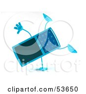 Royalty Free RF Clipart Illustration Of A 3d Slim Blue Cell Phone Character Doing A Cartwheel Version 1