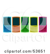 Royalty Free RF Clipart Illustration Of Five Colorful 3d Cell Phones Laying Flat On A Surface by Julos