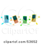 Four 3d Slim Blue Orange Green And Yellow Cell Phone Characters Jumping