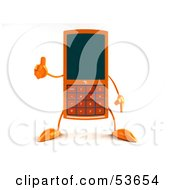 3d Slim Orange Cell Phone Character Giving The Thumbs Up