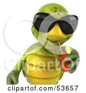 3d Green Tortoise Wearing Dark Shades And Drinking Fruit Punch