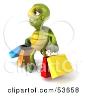Royalty Free RF Clipart Illustration Of A 3d Green Tortoise Carrying Shopping Bags