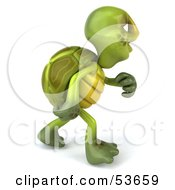 Royalty Free RF Clipart Illustration Of A 3d Green Tortoise Walking And Looking Away Version 1