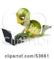 3d Green Tortoise Resting On His Belly And Using A Laptop