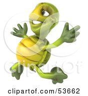 Royalty Free RF Clipart Illustration Of A 3d Green Tortoise Jumping Into The Air