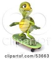 3d Green Tortoise Skateboarding Version 2 by Julos