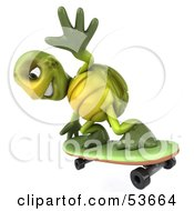 3d Green Tortoise Skateboarding Version 5 by Julos