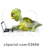3d Green Tortoise Laying On His Belly And Using A Laptop