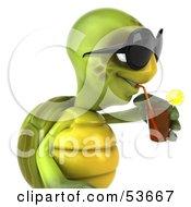 3d Green Tortoise Wearing Dark Shades And Drinking A Beverage
