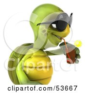 3d Green Tortoise Wearing Dark Shades And Drinking A Beverage by Julos