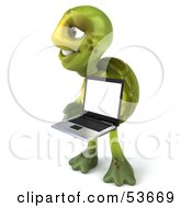 3d Green Tortoise Carrying A Left And Holding A Laptop
