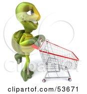 3d Green Tortoise Pushing A Shopping Cart