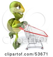 Royalty Free RF Clipart Illustration Of A 3d Green Tortoise Pushing A Shopping Cart by Julos