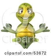 Royalty Free RF Clipart Illustration Of A Zen 3d Green Tortoise Meditating Version 1 by Julos