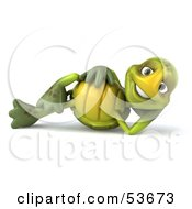 3d Green Tortoise Reclined On His Side And Smiling