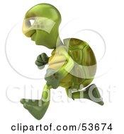 3d Green Tortoise Running Left