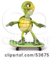 3d Green Tortoise Skateboarding Version 1 by Julos