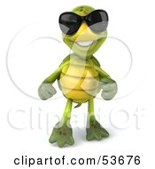 Friendly 3d Green Tortoise Wearing Dark Shades And Standing by Julos