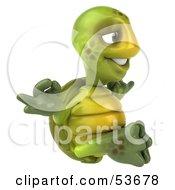 Zen 3d Green Tortoise Meditating - Version 2