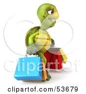 3d Green Tortoise Shopping by Julos