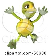 3d Green Tortoise Leaping Into The Air