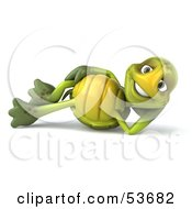 3d Green Tortoise Resting On His Side And Smiling by Julos