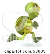 3d Green Tortoise Running Right