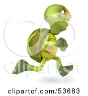 3d Green Tortoise Running Right by Julos