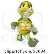 3d Green Tortoise Running Forward