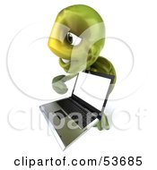 3d Green Tortoise Facing Right And Pointing At A Laptop by Julos