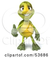 3d Green Tortoise Facing Front And Giving The Thumbs Up