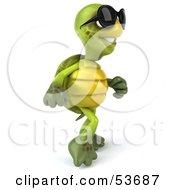 3d Green Tortoise Wearing Dark Sunglasses And Walking