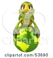 3d Green Tortoise Resting On Top Of A Green Globe