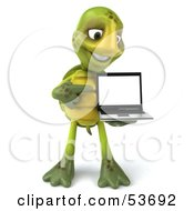 3d Green Tortoise Standing And Pointing To A Laptop by Julos