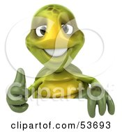 3d Green Tortoise Standing Behind A Blank Sign And Giving The Thumbs Up by Julos