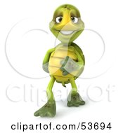 Royalty Free RF Clipart Illustration Of A Bashful 3d Green Tortoise Touching His Belly And Smiling