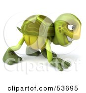3d Green Tortoise Slowly Walking On All Fours - Version 3