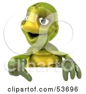 3d Green Tortoise Smiling And Pointing Down At A Blank Sign